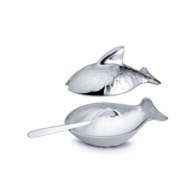 Alessi Colombina Fish Salt Cellar with Spoon (FM24)