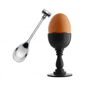 Dressed Egg Cup in Black & Spoon (MW14SET B)