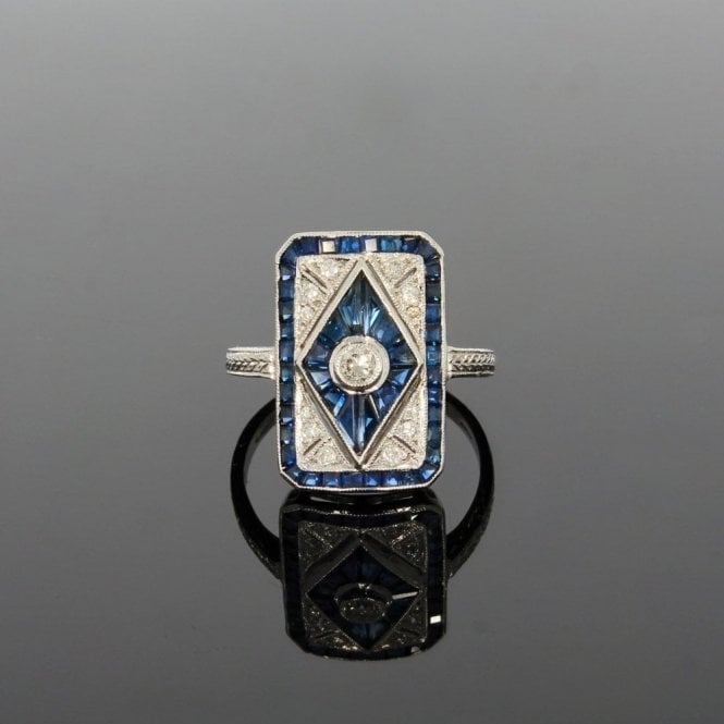 Cluster Ring 0.20ct Brilliant Cut Diamond & 3.90ct Sapphire Art Deco