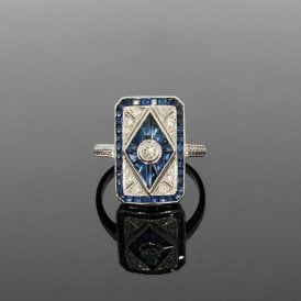0.20ct Brilliant Cut Diamond & 3.90ct Sapphire Art Deco