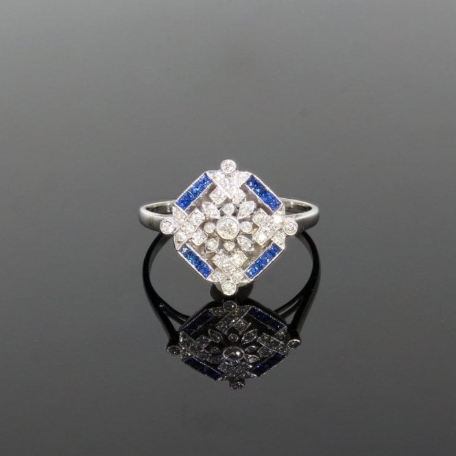Cluster Ring 0.27ct Brilliant Cut Diamond & Trapezium Cut Sapphire Art Deco