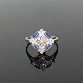 0.27ct Brilliant Cut Diamond & Trapezium Cut Sapphire Art Deco