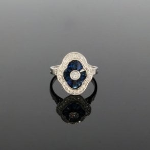 0.34ct Brilliant Cut Diamond & Sapphire Art Deco