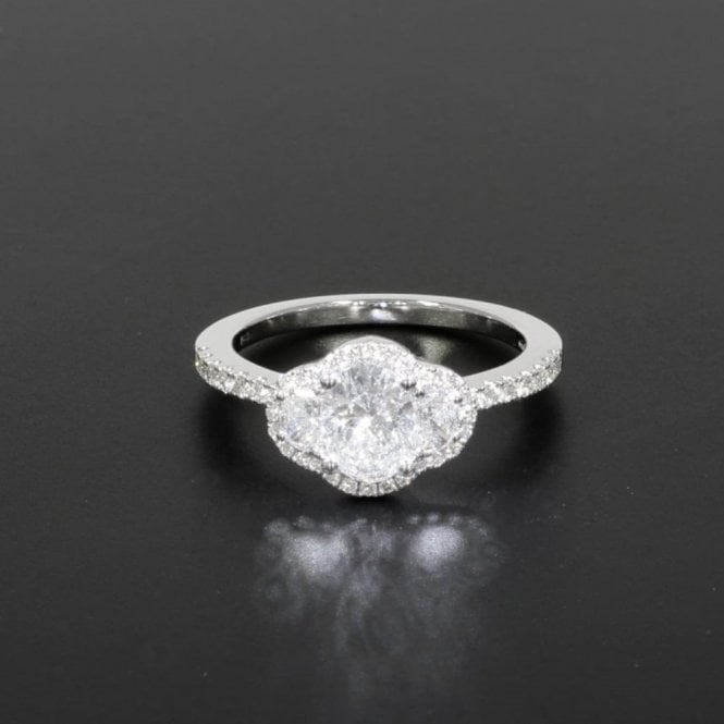 Cluster Ring 0.76ct Certificated Diamond White Gold