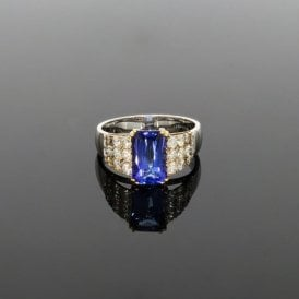 0.88ct Brilliant Cut Diamond & 2.22ct Tanzanite Art Deco