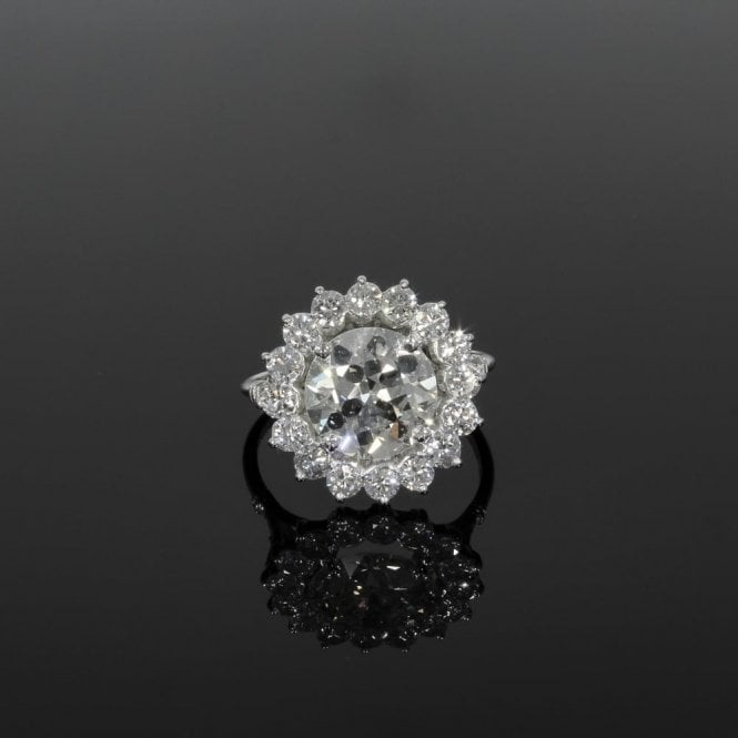 Cluster Ring 4ct+ Total Pre Owned Vintage Platinum Set