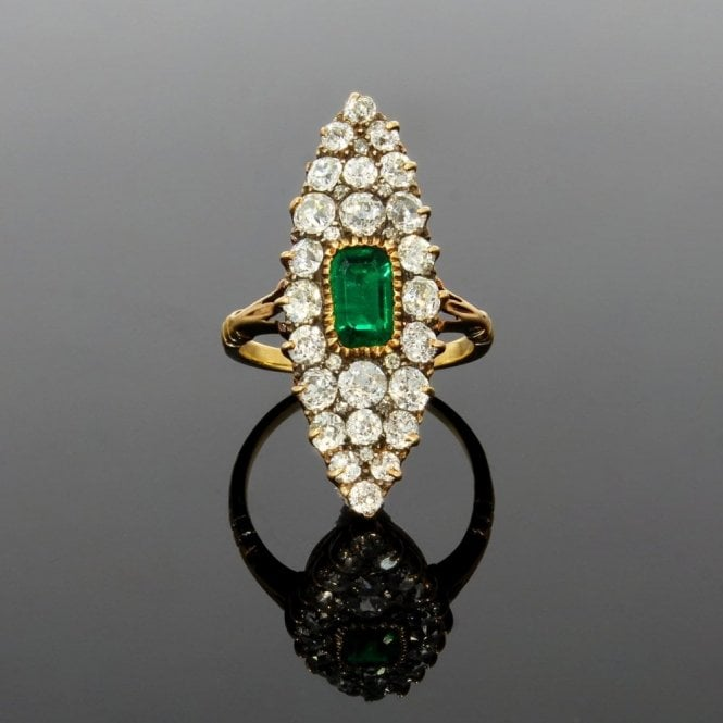 Cluster Ring Edwardian Marquise Old Cut Diamond & Emerald