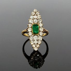 Edwardian Marquise Old Cut Diamond & Emerald