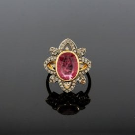 Old Cut Diamond and 3.88ct Ruby Art Deco