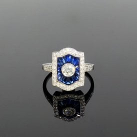 Platinum 0.75ct Diamond & 3.60ct Sapphire Art Deco