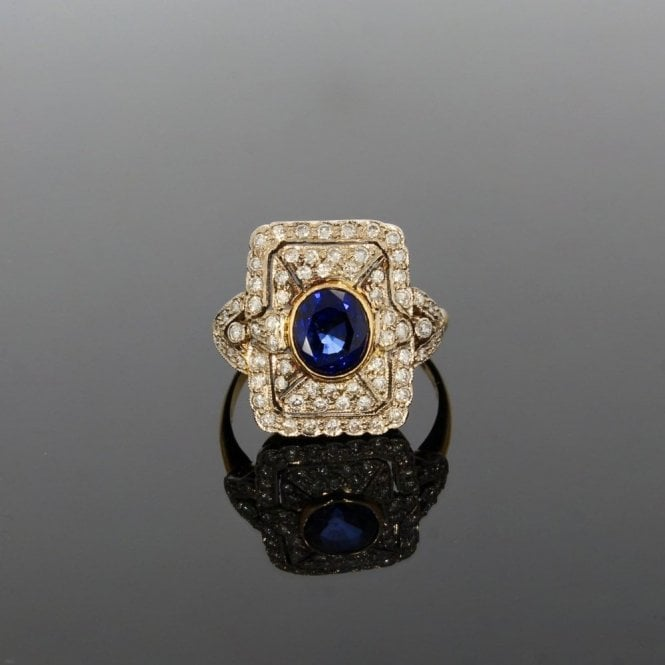 Cluster Ring Yellow Gold 0.60ct Brilliant Cut Diamond & 1.56ct Sapphire Art Deco