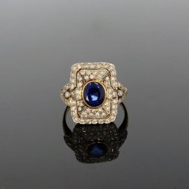 Yellow Gold 0.60ct Brilliant Cut Diamond & 1.56ct Sapphire Art Deco