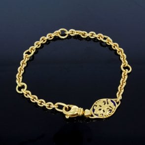 Gold Bracelet with Cobalt Blue Guilloche Clasp