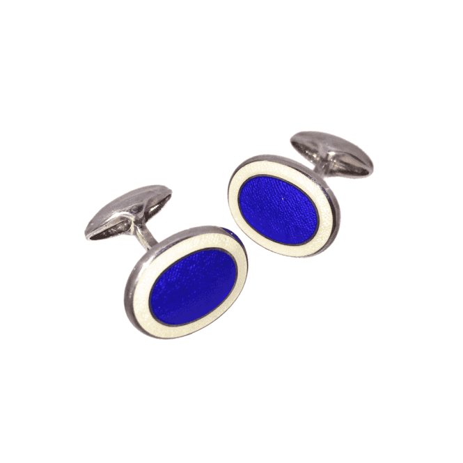 Hallmarked Sterling Silver Blue Enamel Oval Cufflinks