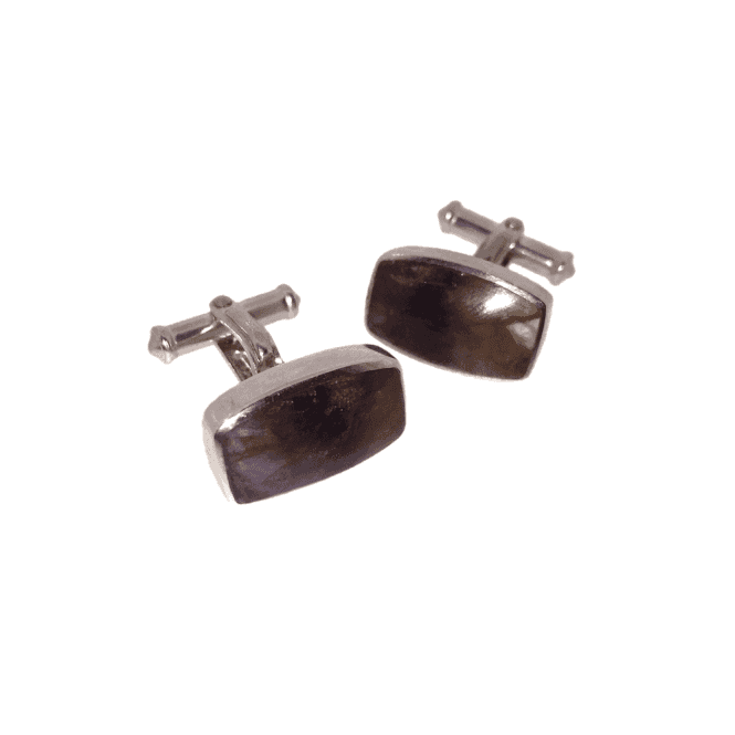 Hallmarked Sterling Silver Blue John Barrel Cufflinks
