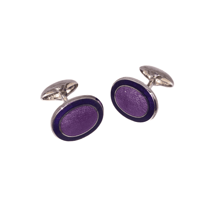 Hallmarked Sterling Silver Blue & Purple Enamel Oval Cufflinks
