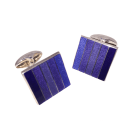 Blue Striped Enamel Square Cufflinks