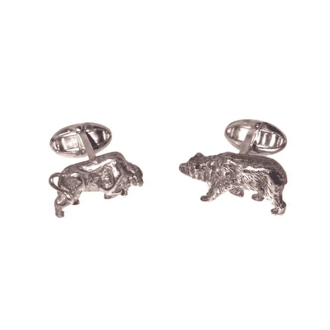 Hallmarked Sterling Silver Bull & Bear Cufflinks