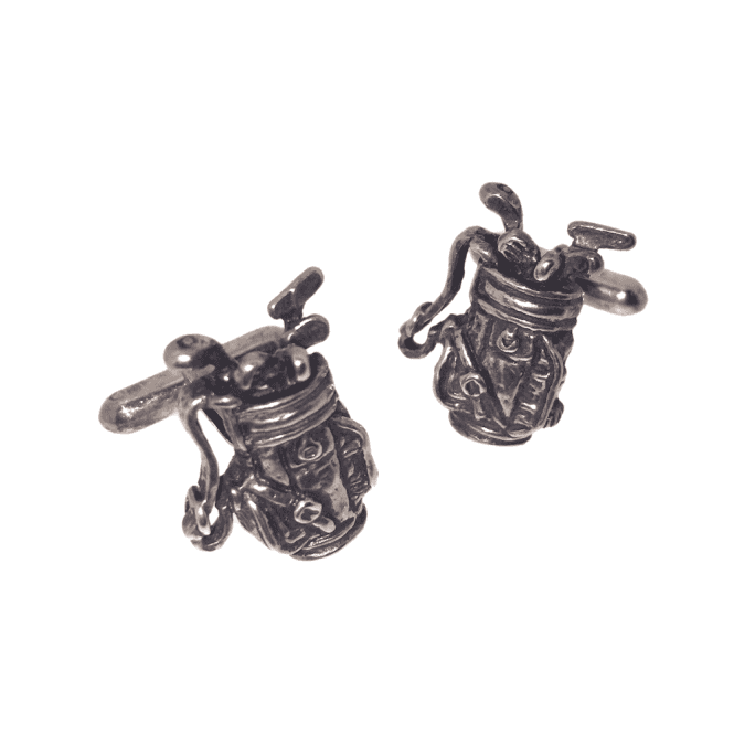 Hallmarked Sterling Silver Golf Bag Cufflinks