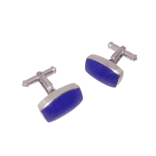 Hallmarked Sterling Silver Lapis Barrel Cufflinks