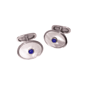 Lapis & Mother of Pearl Oval Cufflinks