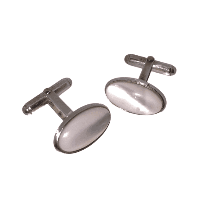 Hallmarked Sterling Silver Mother of Pearl Round Cufflinks