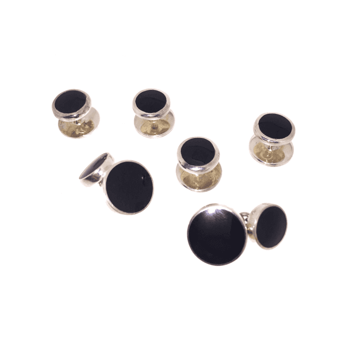 Hallmarked Sterling Silver Onyx Cufflink & Shirt Dress Stud Set
