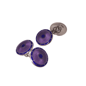 Purple and Blue Enamel Round Cufflinks