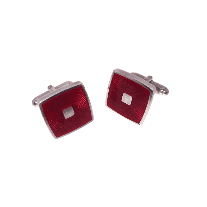 Hallmarked Sterling Silver Red Enamel Square Cufflinks
