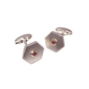 Ruby Hexagonal Cufflinks