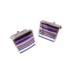 Striped Enamel Square Cufflinks