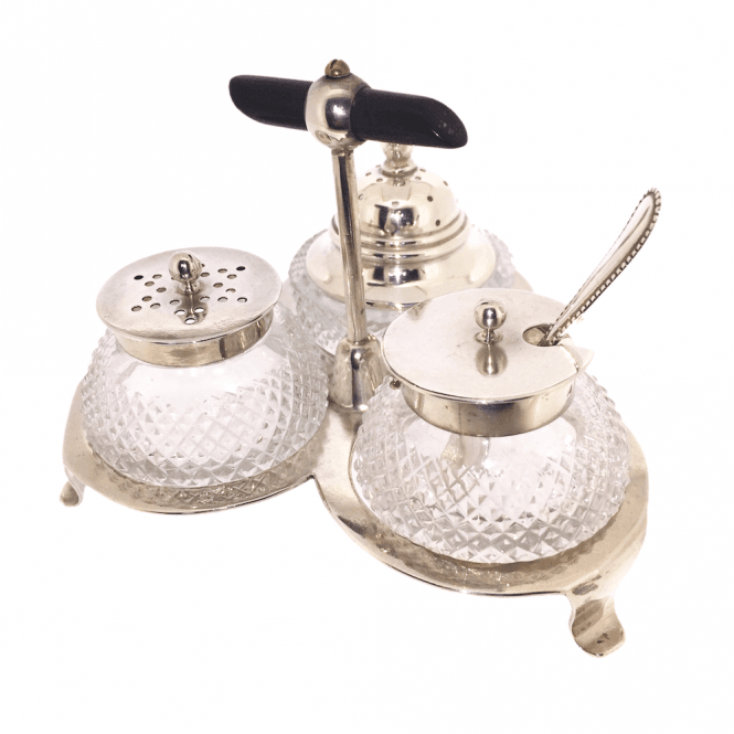 Hallmarked Sterling Silver Victorian Salt Pepper and Mustard Cruet