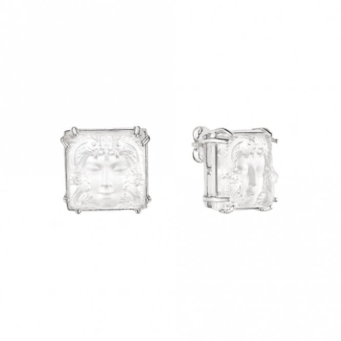 Lalique Arethuse Masque De Femme Earrings Clear Silver (10485900)