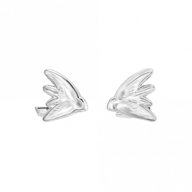 Lalique Hirondelles Swallow Bird Cufflinks Palladium Clear (10604300)