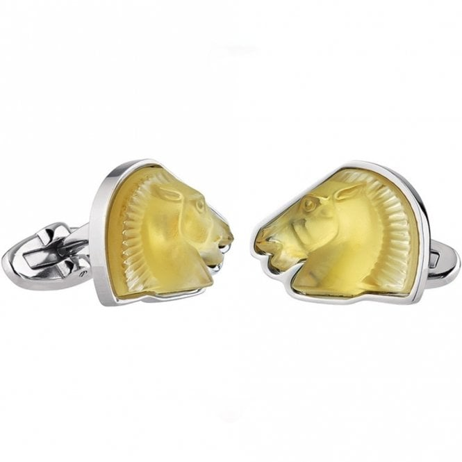 Lalique Mascottes Cheval Horse Cufflinks Amber (10388500)