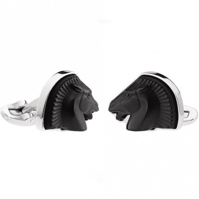 Lalique Mascottes Cheval Horse Cufflinks Black (10336900)