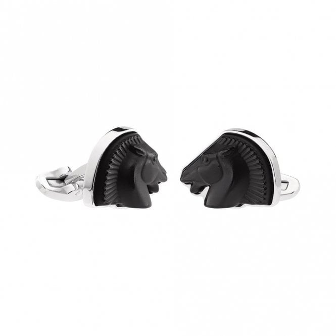 Lalique Mascottes Cheval Horse Cufflinks Black (10604500)