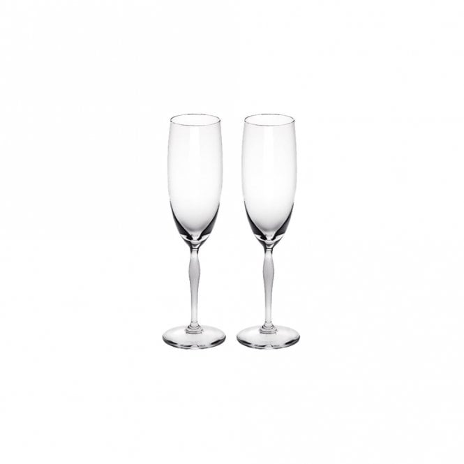 Lalique Pair of 100 Points Champagne Flute Glasses (10331300)