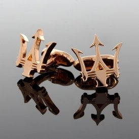 9ct Solid Rose Gold Trident Cufflinks