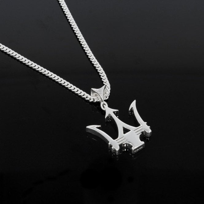 Maserati Style Sterling Silver Trident Pendant & Chain