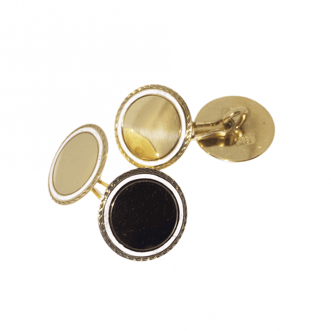 Mens Accessories 14ct Gold Vintage Circular Cufflinks