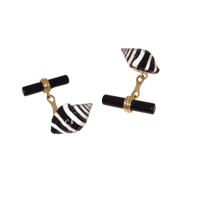 Mens Accessories 18ct Gold Shell and Onyx Cufflinks