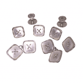 9ct White Gold Mother Of Pearl Cufflink & Shirt Dress Stud Set
