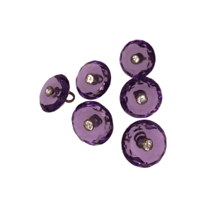 Amethyst Glass Button Dress Stud Set