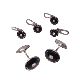 Diamond Set Black Enamel Cufflink & Shirt Dress Stud Set