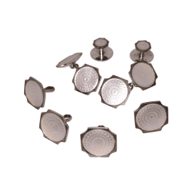 Silver and Mother of Pearl Cufflink & Shirt Dress Stud Set