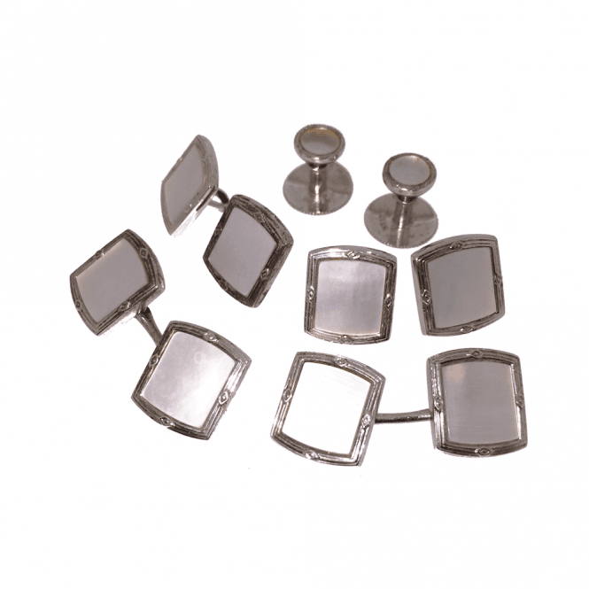 Mens Accessories Silver and Mother of Pearl Cufflink & Shirt Dress Stud Set