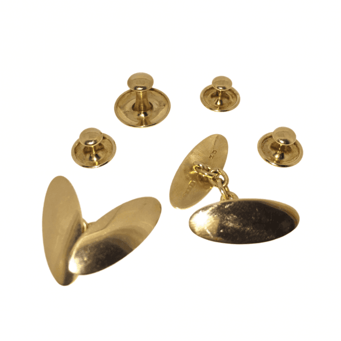 Mens Accessories Victorian 18ct Gold Cufflink & Shirt Dress Stud Set