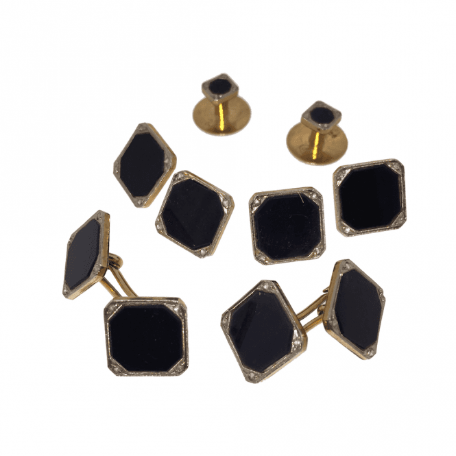 Mens Accessories Vintage 9ct Gold Onyx and Diamond Cufflink & Shirt Dress Stud Set