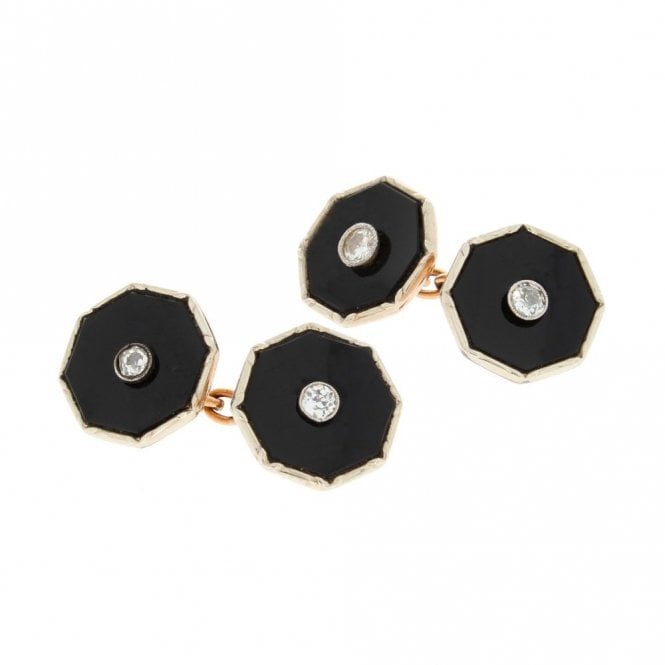 Mens Accessories Vintage 9ct Rose Gold Octagonal Onyx Cufflinks